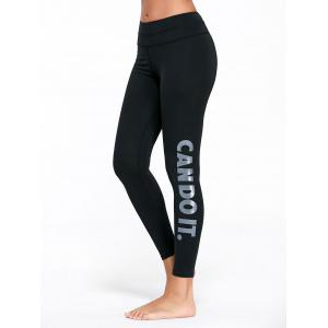 Letter Can Do It Graphic Sports Tights