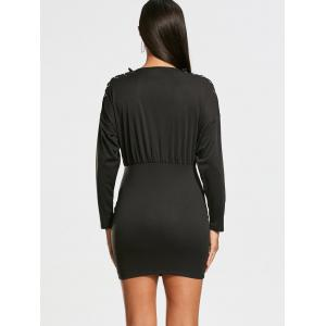 Zipper Drop Shoulder Long Sleeve Bodycon Dress - Noir M