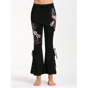 Criss Cross Bottom Flower Print Flare Pants - BLACK AND RED S