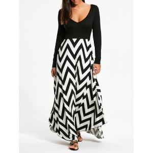 Zigzag Print Long Sleeve Maxi Dress