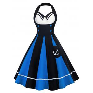 Vintage Color Block Halter Backless Pin Up Dress