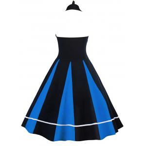 Vintage Color Block Halter Backless Pin Up Dress - Bleu et Noir L