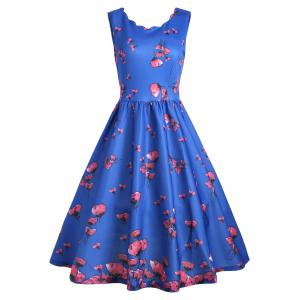 Vintage Floral Scalloped Neck A Line Dress