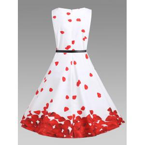 Printed Vintage A Line Dress - Rouge et Blanc S