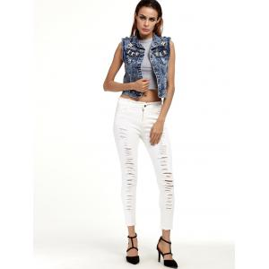 Ripped Cropped Cigarette Pants - WHITE 2XL