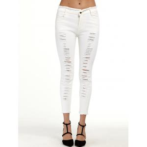 Ripped Cropped Cigarette Pants - White - S