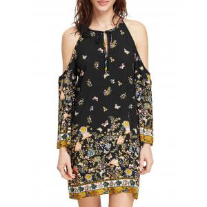 Mini Print Open Shoulder Dress