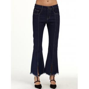 Seamed Flare Jeans with Frayed Hem