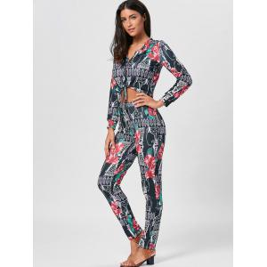 Cropped Floral Print Top and Pencil Pants - COLORMIX S
