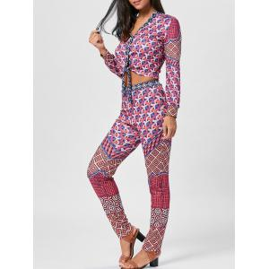 Bowknot Geometric Print Top and Pants - Colormix - S