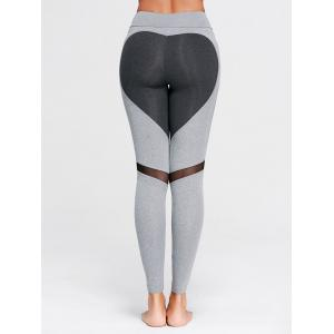 Heart Pattern Mesh Panel Workout Leggings