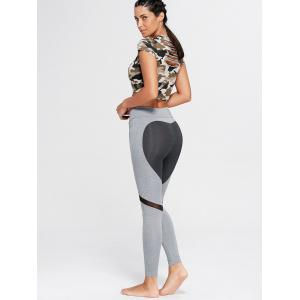 Heart Pattern Mesh Panel Workout Leggings -