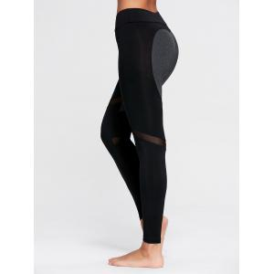 Heart Pattern Mesh Panel Workout Leggings - BLACK S