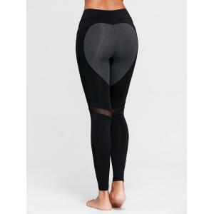 Heart Pattern Mesh Panel Workout Leggings - Black - L