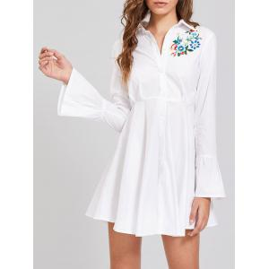 Button Up Embroidery Flare Sleeve Shirt Dress - White - Xl