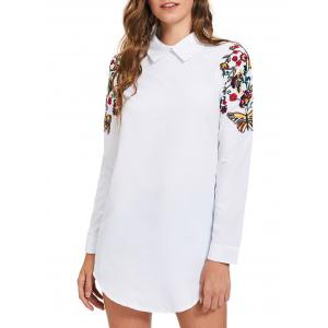 Long Sleeve Mini Embroidery Shirt Dress