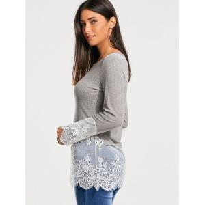 Lace Trim Panel Casual Knit Top - GRAY M