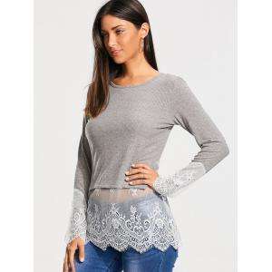 Lace Trim Panel Casual Knit Top - Gris XL