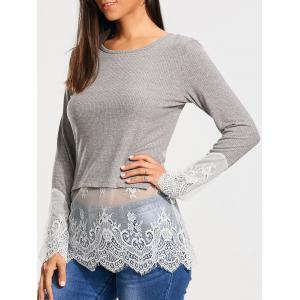 Lace Trim Panel Casual Knit Top - Gray - Xl
