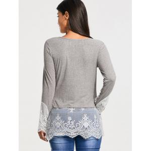 Lace Trim Panel Casual Knit Top - Gris 2XL