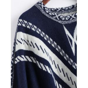 Jacquard Fringed Plus Size Poncho Sweater - PURPLISH BLUE ONE SIZE