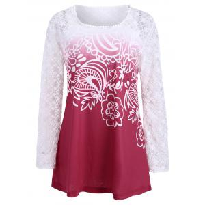 Lace Panel Long Sleeve Ombre Top - Red - Xl