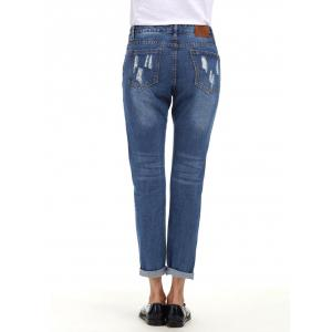 Cuffed Ripped Boyfriend Jeans - BLUE S
