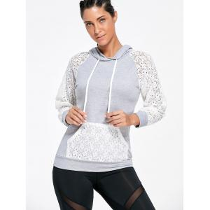 Lace Sleeve Panel Sports Hoodie with Pocket - GRAY S