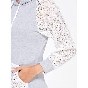 Lace Sleeve Panel Sports Hoodie with Pocket - GRAY XL