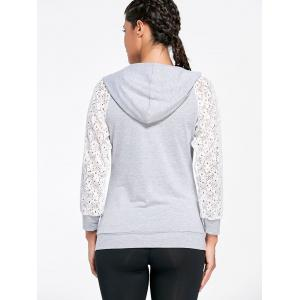 Lace Sleeve Panel Sports Hoodie with Pocket - GRAY 2XL