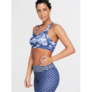 Camo Print Sports V Neck Padded Bra -