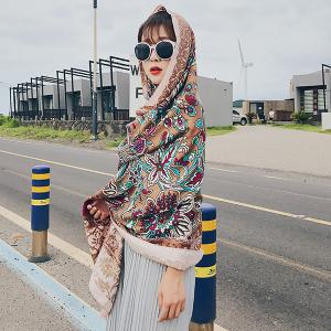 Boho Ethnic Floral Printing Tassels Shawl Scarf - LIGHT BROWN