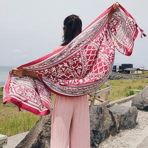 Floral Anthemy Pattern Vintage Ethnic Shawl Scarf - RED