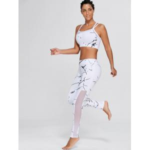 Straps Bra and Workout Mesh Panel Leggings - WHITE S