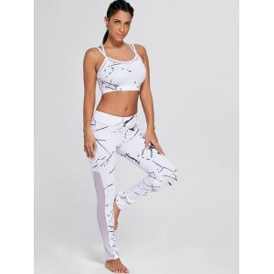 Straps Bra and Workout Mesh Panel Leggings - WHITE M