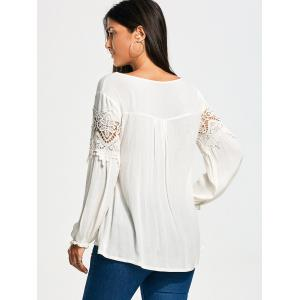 Lace Panel Long Sleeve Smock Blouse -