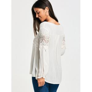 Lace Panel Long Sleeve Smock Blouse - WHITE M