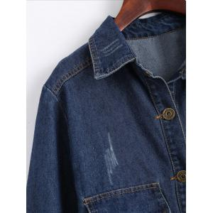 Plus Size Patched Destroyed Wash Long Denim Jacket -
