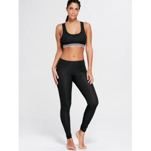 Striped Trim U Neck Padded Sports Bra - BLACK S