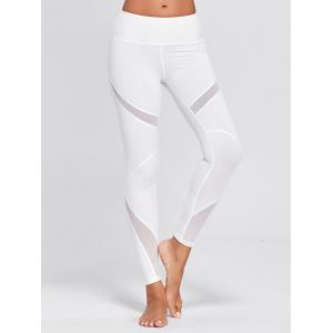 High Waisted Mesh Panel Workout Leggings - WHITE XL