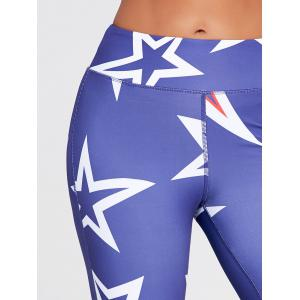 U Neck Stars Printed Bra and Sports Leggings - BLUE L