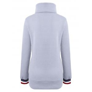 Mock Neck Pocket Drawstring Long Hoodie -