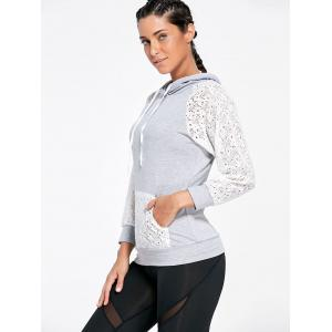 Lace Sleeve Panel Sports Hoodie with Pocket -