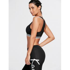 Striped Trim U Neck Padded Sports Bra -