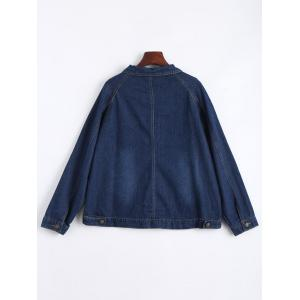 Plus Size Button Boyfriend Denim Jacket -