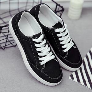 Casual Eyelet Stitching Canvas Shoes -
