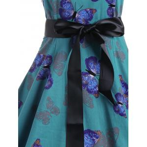 Vintage Butterfly Print Halter A Line Dress -