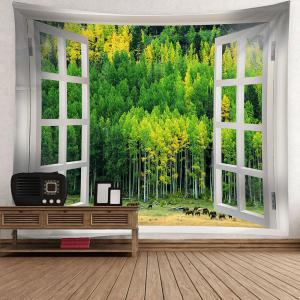 Waterproof Window Forest Wall Art Hanging Tapestry -
