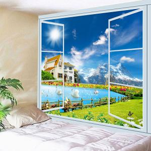 Window Swans Lake Scenery Wall Waterproof Tapestry -