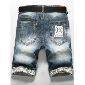LS Print Zip Fly Distressed Denim Shorts -